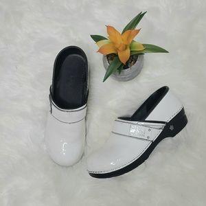 Koi Sanita White and Black Clogs